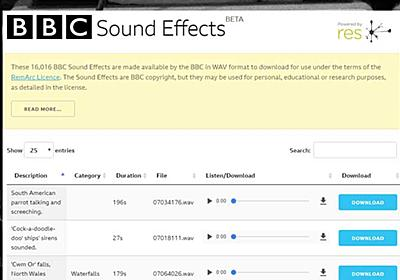 BBCが1万6000種類以上の「効果音」を無料公開 非営利目的での利用が可能 - ねとらぼ