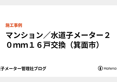 マンション/水道子メーター20mm16戸交換(箕面市) - 水道子メーター管理社ブログ