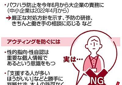 性的指向・性自認、勝手に暴露はパワハラ 善意でもNG:朝日新聞デジタル