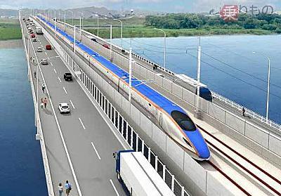 日本初「新幹線・道路併用橋」まもなく誕生! 歩道から列車どれくらい見える? | 乗りものニュース