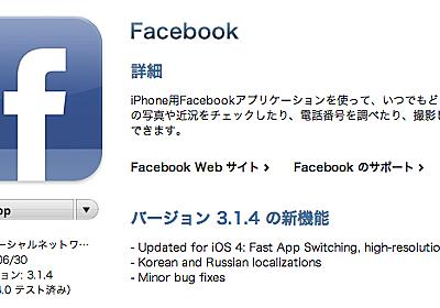 Apr.Foolism: [Update情報]Facebook関連アプリがiOS4に対応