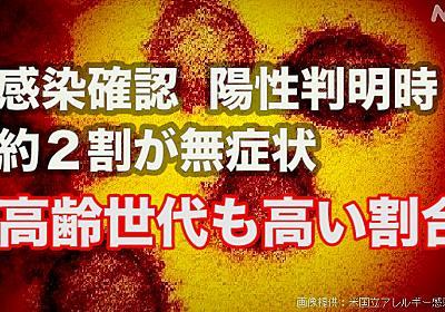 コロナ感染 2割は陽性判明時に無症状 60代以降も高い割合 東京 | 医療 | NHKニュース