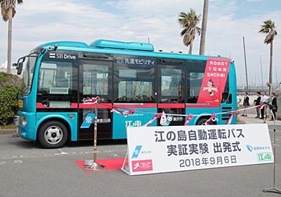 小田急と江ノ電、江の島でレベル3の自動運転バスの実証実験。試乗レポート 神奈川県知事や藤沢市長が出発式に参加 - トラベル Watch