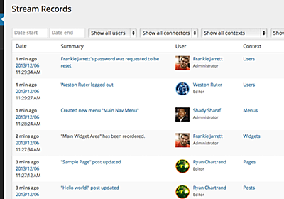 Stream: A WordPress Plugin to Track and Monitor Changes in the Admin – WordPress Tavern