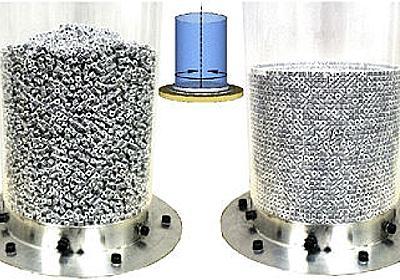 小さなサイコロ数万個を入れた筒を左右に回し続けるとサイコロがみっちり詰まった状態になることが判明 - GIGAZINE