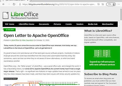 「Apache OpenOffice」から「LibreOffice」への移行を ~TDFが公開書簡 - 窓の杜