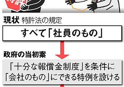 特許、無条件で会社のもの 社員の発明巡り政府方針転換:朝日新聞デジタル