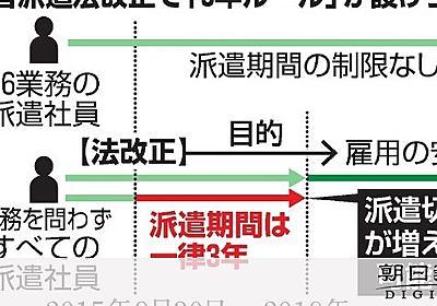 派遣切り、9月末に増加危機 「3年ルール」の対象者:朝日新聞デジタル
