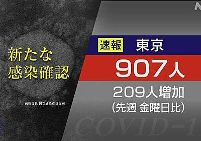 東京都 コロナ 6人死亡 907人感染確認 5月1日以来の900人超 | 新型コロナ 国内感染者数 | NHKニュース
