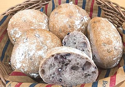黒米入り、黒米甘酒酵母パン - パンとフクロウ*自家製天然酵母*