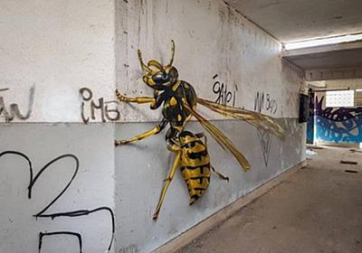 ドキッとするリアリティ。壁面を支配する巨大昆虫の3Dグラフィティアート : カラパイア