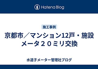京都市/マンション12戸・施設メータ20ミリ交換 - 水道子メーター管理社ブログ