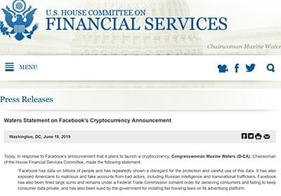 Facebookの暗号通貨「Libra」に米下院が「待った」 - ITmedia NEWS