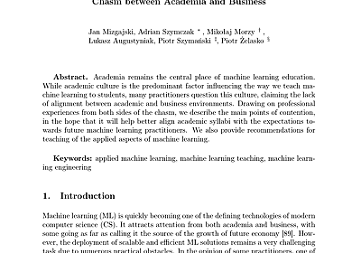 (PDF) Return on Investment in Machine Learning: Crossing the Chasm between Academia and Business