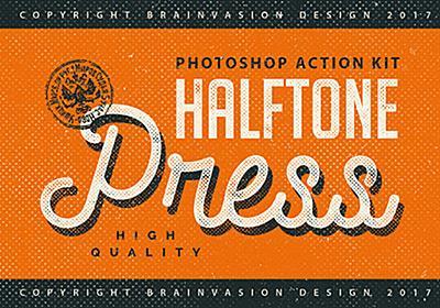 レトロな演出に最適なハーフトーンのPhotoshopアクションキット「Halftone Press Photoshop Kit」   DesignDevelop
