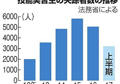 外国人実習生の失踪急増、半年で3千人超 賃金に不満か:朝日新聞デジタル