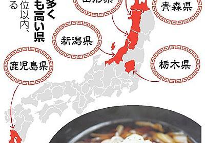ラーメン店多い県、脳卒中死亡率高め 塩を買う量も…:朝日新聞デジタル