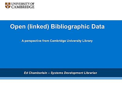 Open (linked) bibliographic data