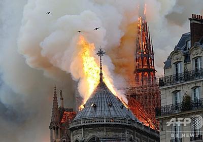 仏ノートルダム大聖堂で大規模火災 尖塔が崩壊 写真31枚 国際ニュース:AFPBB News