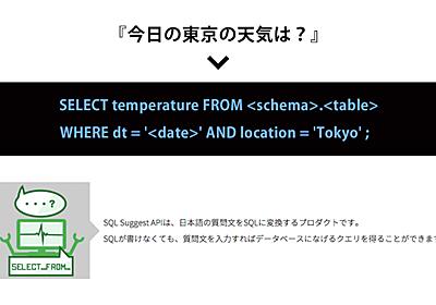 日本語からSQL文を生成!リクルートのAI A3RT「SQL Suggest API」でクエリを作る | Ledge.ai