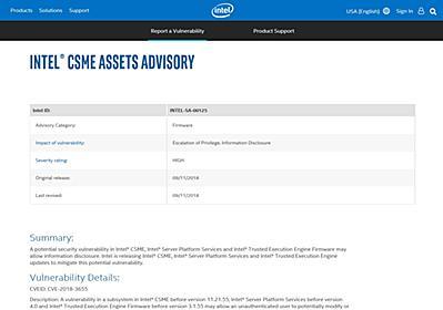 Intel暗号鍵に危険度「高」の脆弱性、ファームウェア更新で対処 - ITmedia エンタープライズ
