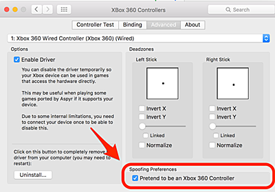 Xbox One コントローラをmac上のSteamで使う