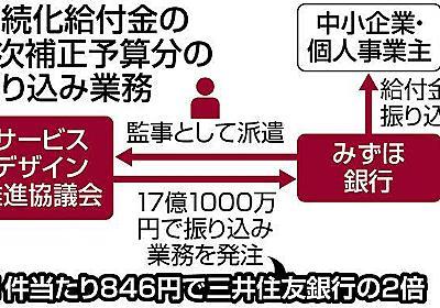 持続化給付金の振り込み手数料、みずほ銀は他行の2倍 協議会に役員派遣:東京新聞 TOKYO Web