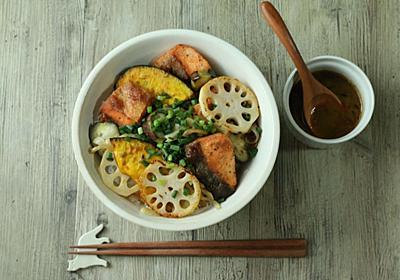 鮭と野菜のステーキ丼【バター醤油ソース】 - ハナゴト