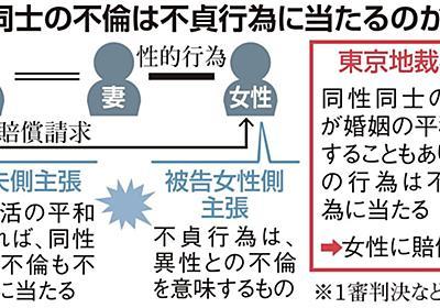 <独自>同性との不倫も「不貞行為」 妻の相手に賠償命令(1/2ページ) - 産経ニュース