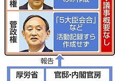 政策決定の核心は「ブラックボックス」 「5大臣会合」「連絡会議」議事録なく検証もできず…:東京新聞 TOKYO Web