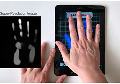 ソフトだけでタッチパネルを超解像化 スマホの画面で掌紋認証も