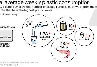 CNN.co.jp : 人間が日常生活で飲み込むプラスチック、週にカード1枚分 豪研究