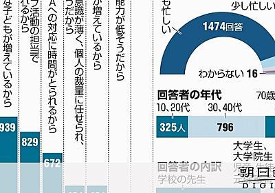 忙しすぎる先生、長時間労働は「残業代なし」も一因か:朝日新聞デジタル