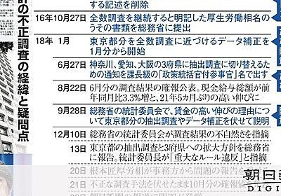 統計不正、厚労省へ疑念 組織的な関与・隠蔽あったのか:朝日新聞デジタル