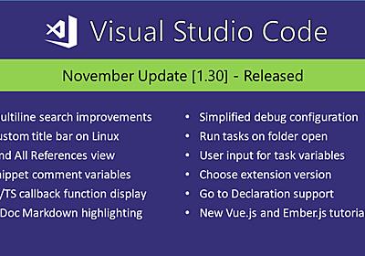 Visual Studio Code November 2018