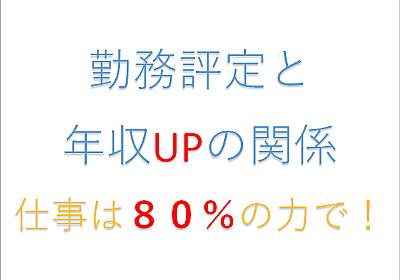 勤務評定と年収UPの関係 ~仕事は80%の力で!~ - 共働き投資でアーリーリタイア