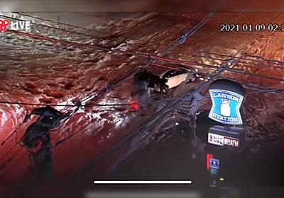 """富山の定点ライブカメラで深夜ローソン交差点付近で車がスタックする様子が映し出され、同接視聴者5000人超えし""""富山テレビ""""がトレンド1位に - Togetter"""