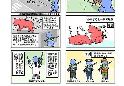 """ねんまつたろう on Twitter: """"クマを射殺した時に「麻酔銃で捕獲できなかったのか」と議論になりますが、自分なりに調べた麻酔銃の理想と現実を漫画にしました。 https://t.co/RPUSN1OCg0"""""""