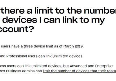 Dropbox、無料ユーザーがリンクできるデバイスを3台に制限 - ねとらぼ