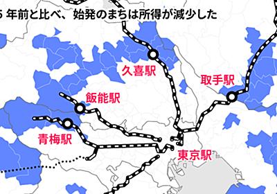 首都圏に所得減のドーナツ 衰える「始発のまち」  :日本経済新聞