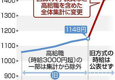 短時間労働者の賃金統計 厚労省が調査法の変更申請せず 大学教授や医師らの追加で時給が急上昇 :東京新聞 TOKYO Web
