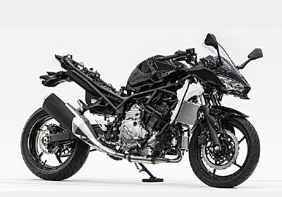 カワサキ、大型バイクでは水素燃焼エンジン開発へ ハイブリッドバイクも初公開
