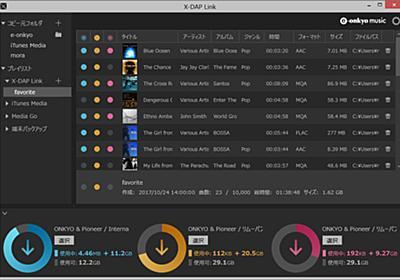 オンキヨー&パイオニアの楽曲転送アプリ「X-DAP Link」がプレイリスト対応 - AV Watch
