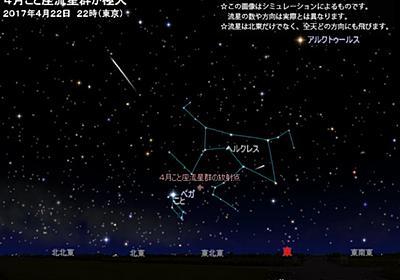 """アストロアーツさんのツイート: """"🌠明日22日(土)夜、 「4月こと座流星群」が極大 https://t.co/yjGgR5Trvm 空が暗く見晴らしのよい場所で1時間あたり5~10個程度(例年)。流れ星が見られたら��"""