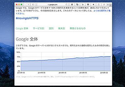 米Googleが「HTTPS対応」のデータを公開、暗号化された接続は77% | マイナビニュース
