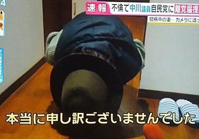 痛いニュース(ノ∀`) : フジテレビが中川議員の妻(ガン闘病中)に突撃取材→妻は帽子にマスク姿、正座し謝罪 - ライブドアブログ