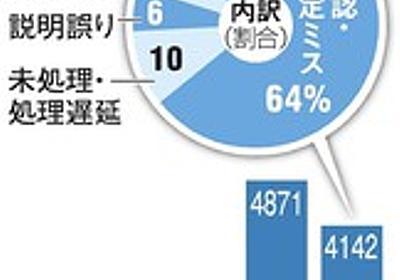 年金機構になっても減らぬミス 5年で対応1万5千件超:朝日新聞デジタル