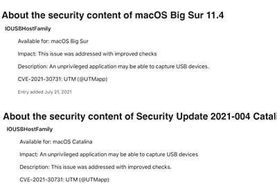 Apple、macOS 10.15.7 (19H1323)やmacOS 11.4 Big Sur (20F71)で権限のないアプリがUSBキーボードやマウスの入力をキャプチャできてしまう脆弱性を修正。