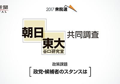 2017衆院選 候補者アンケート(朝日・東大谷口研究室共同調査) - 朝日新聞デジタル