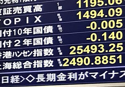 長期金利がマイナス 1年3カ月ぶり  :日本経済新聞